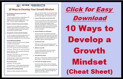 10 ways to develop a growth mindset- downloadable cheat sheet