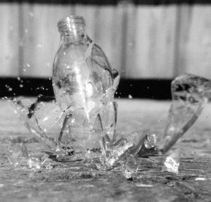 Dropping glass shatter